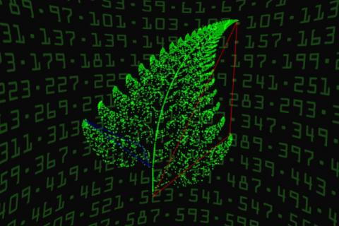 Illustration showing a leaf over a background of prime numbers