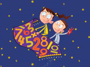 Two kids riding a magic carpet emblazoned with numbers