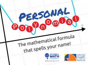 Personal polynomial: The mathematical formula that spells your name! Logos for Global Math and the National Math Festival