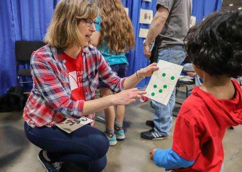 Woman Showing Boy mathematical image - National Math Festival 2019