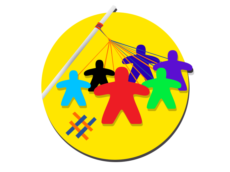 Illustration of stick figures dancing around a maypole