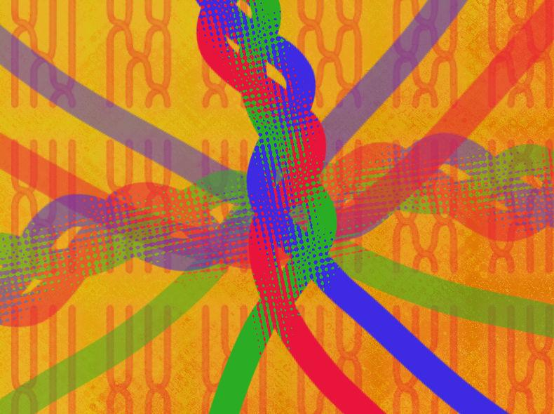 Illustration showing a braid woven together